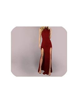 Sexy Party Solid Mesh Back Double Slit Maxi Sleeveless Skinny Sheath Summer Club Night Women Dress