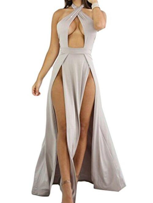 XTX Women's Elegant Sexy Halter Double Slit Cut Out Sleeveless Backless Clubwear Dress