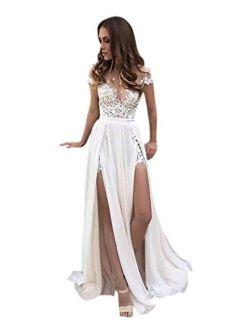 Sexy High Slit Side Summer Bridal Gown Lace Chiffon a Line Beach Wedding Dress