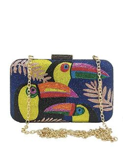 Toucan Bird Crystal Clutch Purses for Women Rhinestone Evening Bags Party Cocktail Handbag and Purse