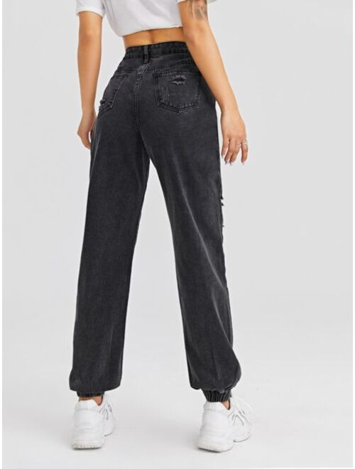 Shein High Waist Letter Graphic Jogger Jeans