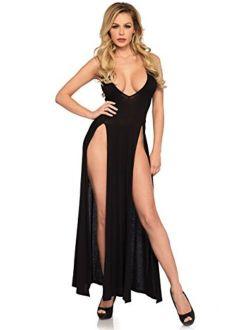 Leg Avenue Women's Deep-v Dual Slit Jersey Maxi Long Nightgown Dress