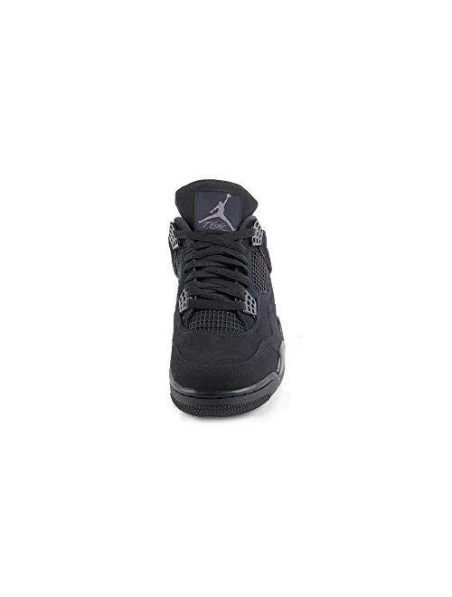 "Nike Mens Air Jordan Retro 4""Black CAT Black/Black-LT Graphite Synthetic Size"
