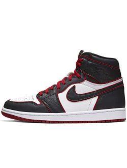 Jordan Nike Mens Air 1 Retro High OG Shadow Black/Soft Grey Leather Basketball Shoes Size