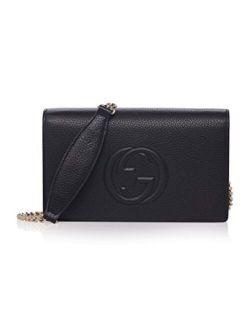 Soho Mini Black Round Light Gold Disco Zip Italy Leather Handbag Bag New