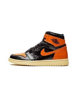 "Jordan Nike Mens Air 1 Retro High OG Shattered Backboard 3.0"" Black/Starfish Leather Size"