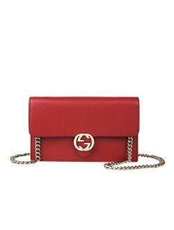 Women's Interlocking Gg Red Leather Crossbody Chain Wallet 510314 6420