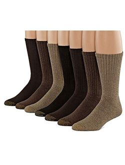 Men's Cotton Crew 6 Plus 1 Bonus Pack (multi-tans), Shoe Size 6-12.5