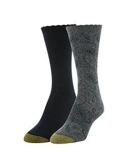 Women's Little Paisley And Flat Knit Crew Socks, 2 Pairs, Charcoal/black, Shoe Size: 6-9