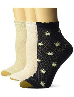 Womens Spring Lace Bouquet Short Crew Socks, 3 Pairs