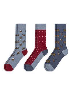 Men's 3 Pack Cotton Novelty Crew Socks