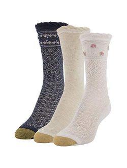 Womens Border Lace Crew Socks, 3 Pairs