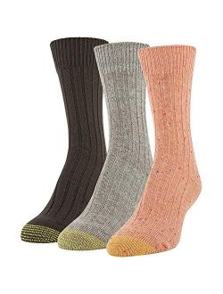 Women's Marled Rib Crew Socks, 3 Pairs, Bright Coral, Khaki Marl, Chocolate, Shoe Size: 6-9
