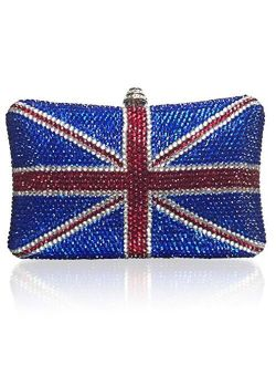 Marc Defang British Union Jack Crystal Handmade Couture Clutch