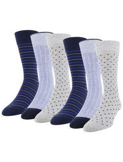 Men's Dot Crew Socks, 6 Pairs
