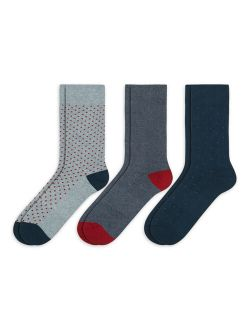 Men's Combed Cotton Patterned Crew Socks ,3 Pack