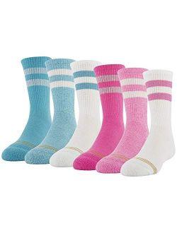 Girl's Emma's Sport Stripe Crew Socks, 6 Pairs