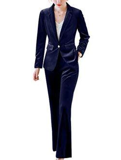 Women's Two Piece Velvet Blazer Suits Slim Fit One Button Women Pantsuits Office Lady Suits Sets