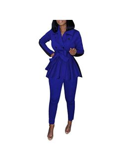 LROSEY Women Elegant Color Block 2 Piece Blazer Legging Suit with Belt
