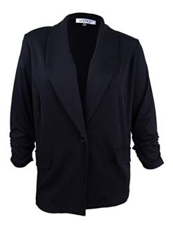 Kasper Women's Plus Size Knit 1 Button Shawl Collar Jacket