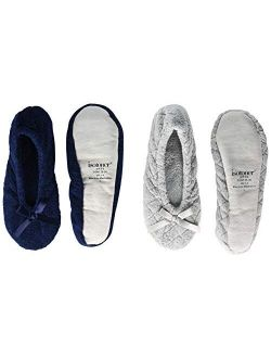 Women's 2 Pack Ballerina Slipper Quilted And Solid Ballet Flat