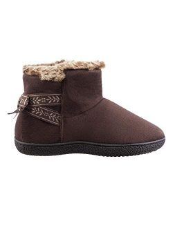 Women's Memory Foam Nora Bootfaux Fur And Bow Detail With Indoor Outdoor Comfort Sole Slipper