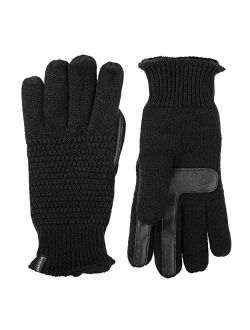 Women's Knit Touchscreen Texting Plush Lined Cold Weather Gloves With Water Repellent Technology