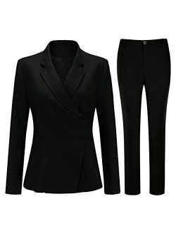 Women's 2 Piece Office Lady Suit Set Invisible Button Blazer and Pants