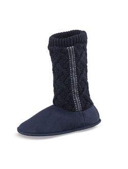 Women's Sweater Knit Tessa Tall Boot House Slipper With All Around Memory Foam Comfort