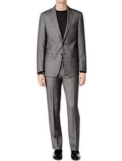 100% Wool Black Off White Birdseye 2 Piece Men's Dress Suit Slim Fit 5ffy0505 Grey