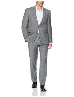 Men's Slim Fit 100% Wool Light Grey Solid Suit