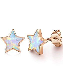 Rose Gold Star Earrings for Girls, Hypoallergenic Fire Opal Stud Earrings For Women ARSKRO S925 Sterling Sliver Little Small Tiny Cute Earring Jewelry Gifts for Sensitive