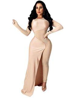 OLUOLIN Women's Sexy See Through Mesh Sequin Glitter V Neck Split Floor Length Sleeve Backless Wide Leg Pants Jumpsuit