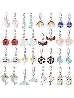 16 Pairs Girls Hypoallergenic Huggie Hoop Earrings with Charm Cute Small Dangle Hoop Earrings Set