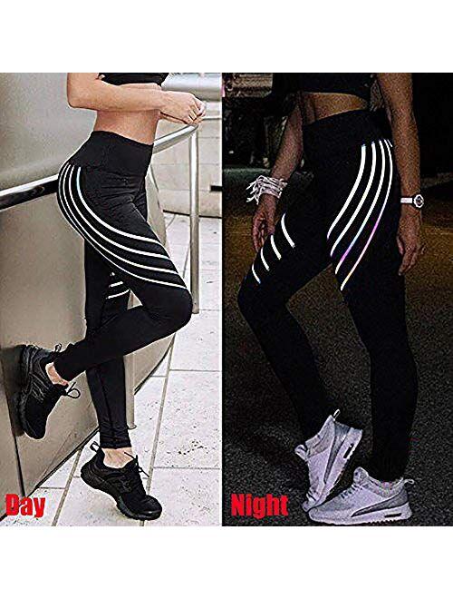 SEASUM Women High Waist Yoga Pants 3D Printed Pattern Leggings Tummy Control Sports Workout Tights