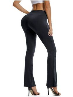 Bootcut Yoga Pants For Women Stretch High Waist Workout Bootleg Pants Tummy Control, Long Flare Pants Trousers