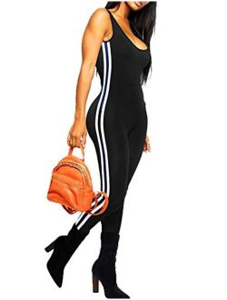 Women Stripe Bodysuit Sleevesless Sport One-piece Backless Sexy Slimming Bodycon Rompers Jumpsuit