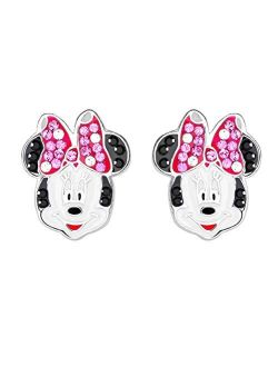 Minnie Mouse Crystal Bow Sterling Silver Stud Earrings