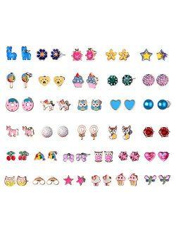 Hypoallergenic Earrings For Girls Teens Kids, Stainless Steel Stud Earrings Set, Animal Alpaca Rainbow Unicorn Cute Earring Jewelry Gifts for Girls Kids Women