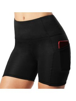 High Waist Yoga Shorts For Women With Pockets Tummy Control Sports Tights Biker Shorts Workout Running Shorts 4 Way Stretch Yoga Pants Black S