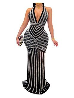Women's Sexy Long Sleeve Rhinestone High Split Long Formal Party Maxi Dress Evening Gown
