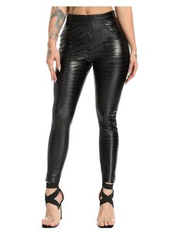 Womens Faux Leather Pants High Waisted Sexy Stretchy Leggings Butt Lifting Ridder Tights Croco Black S