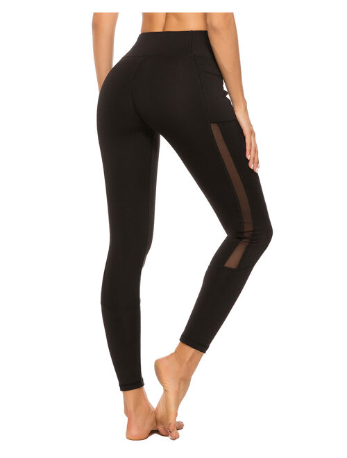 SEASUM Women's High Waist Yoga Leggings With Side Pockets Tummy Control Workout Running Pants Mesh Sports Tights Gym Fitness Athletic Pants Black S
