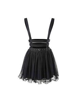 Mesh Overall Skirt Romper - Heartbreaker Jumper Skirt