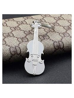 Key Ring Ornaments Fashion Violin Metal Car Key Chain Stylish Music Keychain Men Women Pendant Creative Gift Jewelry (Color : Silver)