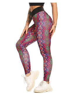 Women's Stripe 3d Boho Printed Yoga Leggings Tummy Control Scrunch Butt Lift Workout Pants Gym Fitness Athletic Tights Red L