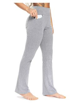 Women's Flared Yoga Pants With Pockets Workout Bootcut Athletic Pants Sweatpants Gray M