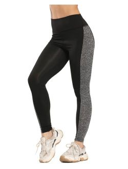 High Waist Yoga Pants For Women Tummy Control Running Workout Pants Joint Athletic Yoga Leggings 4 Way Stretch Gym Yoga Tights Black+gray S