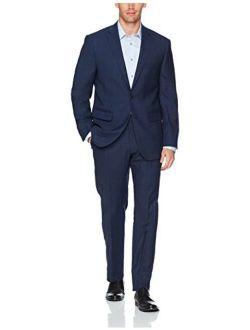 Men's Slim Fit 100% Wool Windowpane Suit