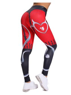 High Waist Yoga Pants For Women Printed Tummy Control Workout Pants Gym Fitness Yoga Leggings Athletic Tights Red S